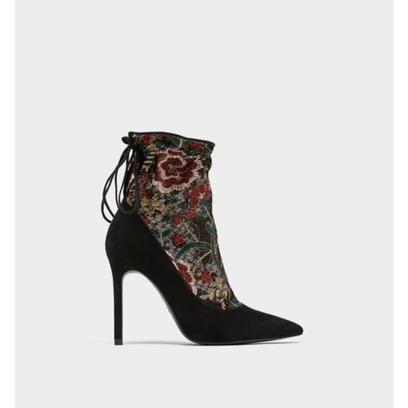 ec61d6d5251 Zara Embroidered Sock Heels